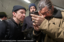 Maximilian Funk of Gestalen Publishers with photographer Hermann Köpf and Giuseppe Roncen of LowRide Magazine Italy at the Mooneyes Yokohama Hot Rod & Custom Show after-party at Mooneyes headquarters. Yokohama, Japan. December 7, 2015.  Photography ©2015 Michael Lichter.