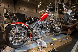 "Custom Harley-Davidson Ironhead Sportster from ""Revolt Custom Cycles"" at the Mooneyes Yokohama Hot Rod & Custom Show. Yokohama, Japan. December 6, 2015.  Photography ©2015 Michael Lichter."