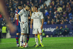 February 24, 2019 - Valencia, Valencia, Spain - Benzema and Lucas Vazquez of Real Madrid  during La Liga Spanish championship, football match between Levante and Real Madrid, February 24th, Ciudad de Valencia stadium, in Valencia, Spain. (Credit Image: © AFP7 via ZUMA Wire)
