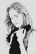 Digitally manipulated longing Emotional woman drawing in black and white