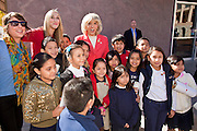 14 FEBRUARY 2011 - PHOENIX, AZ:  Arizona Governor JAN BREWER greets elementary school students after speaking at Statehood Day observances at the State Capitol in Phoenix Monday. Arizona became the 48th state in the United States on Feb. 14, 1912. Gov. Brewer announced that the state is planning a series of centennial events leading up to Feb 14, 2012 for the coming year during her speech at the state capitol Monday morning.    Photo by Jack Kurtz