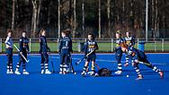 BILTHOVEN -  Hoofdklasse competitiewedstrijd dames, SCHC v hdm, seizoen 2020-2021.<br /> Foto: SCHC tijdens het inspelen