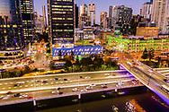 Aerial view of the Riverside Expressway & Downtown Brisbane city, Queensland, Australia