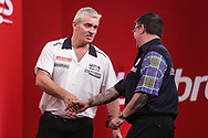 Steve Beaton knocks Gary Anderson out of the UK Open in the fourth round and celebrates during the Ladrokes UK Open 2019 at Butlins Minehead, Minehead, United Kingdom on 1 March 2019.