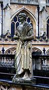 20th century statue of Roman Caesar erected at the Roman Baths in Bath, England