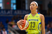 Aerial Powers of the Dallas Wings prepares to shoot a free-throw against the Connecticut Sun during a WNBA preseason game in Arlington, Texas on May 8, 2016.  (Cooper Neill for The New York Times)