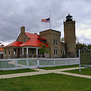 """""""Crossing Paths""""<br /> <br /> A beautiful view of the historic Old Mackinac Point Lighthouse.<br /> <br /> Lighthouses of the Great Lakes by Rachel Cohen"""