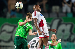 Jakob Novak of NK Olimpija vs Rangelo Janga of AS Trencin during 1st Leg football match between NK Olimpija Ljubljana (SLO) and FK AS Trenčin (SVK) in Second Qualifying Round of UEFA Champions League 2016/17, on July 13, 2016 in SRC Stozice, Ljubljana, Slovenia. Photo by Vid Ponikvar / Sportida