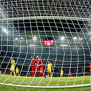 Turkey's scores during their UEFA Euro 2016 qualification Group A soccer match Turkey betwen Kazakhstan at AliSamiYen Arena in Istanbul November 16, 2014. Photo by Kurtulus YILMAZ/TURKPIX
