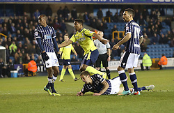 Millwall players Nadjim Abdou, Paul Robinson and Ryan Fredericks look on as Birmingham City's Jordon Ibe scores his sides fiirst goal - Photo mandatory by-line: Robin White/JMP - Tel: Mobile: 07966 386802 15/03/2014 - SPORT - FOOTBALL - The Den - Millwall - Millwall v Birmingham City - Sky Bet Championship