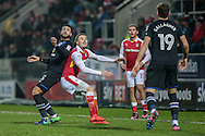 Derrick Williams (Blackburn Rovers) and Danny Ward (Rotherham United) push each other as they wait for the ball to drop from a throw-in during the EFL Sky Bet Championship match between Rotherham United and Blackburn Rovers at the AESSEAL New York Stadium, Rotherham, England on 11 February 2017. Photo by Mark P Doherty.