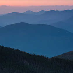 The view from South Kinsman Mountain at dawn. New Hampshire's White Mountains.