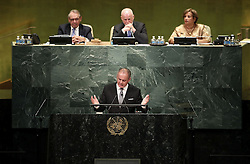 UNITED NATIONS, Sept. 20, 2016 (Xinhua) -- Slovak President Andrej Kiska speaks at the 71st session of the United Nations General Assembly at the UN headquarters in New York, on Sept. 20, 2016. The 71st session of the UN General Assembly on Tuesday opened its annual high-level General Debate at the UN headquarters in New York, with a focus on pushing for the world's sustainable development. (Xinhua/Wang Ying) (Credit Image: © Wang Ying/Xinhua via ZUMA Wire)