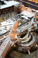 Oasis of the Seas. Float Out, Turku, Finland..Royal Caribbean's Oasis of the Seas the worlds largest cruise ship, enters final construction phase  at STX ship yard in Finland..Aqua theatre