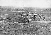 Fredericksburg, Virginia, February, 1863. In the foreground are three guns of Tyler's Connecticut battery. from the book ' The Civil war through the camera ' hundreds of vivid photographs actually taken in Civil war times, sixteen reproductions in color of famous war paintings. The new text history by Henry W. Elson. A. complete illustrated history of the Civil war