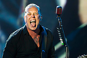 Metallica play the Pyramid stage and start with a spoof video about a hunted fox saved by bears. The 2014 Glastonbury Festival, Worthy Farm, Glastonbury. 27 June 2013.  Guy Bell, 07771 786236, guy@gbphotos.com