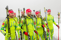 Klemen Bauer, Jakov Fak, Peter Dokl and Lenart Oblak during media day of Slovenian biathlon team before new season 2013/14 on November 14, 2013 in Rudno polje, Pokljuka, Slovenia. Photo by Vid Ponikvar / Sportida