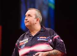 Phil Taylor during the game v Ronnie Baxter. Taylor won..2010 Whyte & MacKay Premier League Darts week nine, Glasgow SECC..©2010 Michael Schofield. All Rights Reserved.