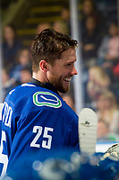 KELOWNA, BC - SEPTEMBER 29:  Jacob Markstrom #25 of the Vancouver Canucks stands at the bench during a time out against the Arizona Coyotes at Prospera Place on September 29, 2018 in Kelowna, Canada. (Photo by Marissa Baecker/NHLI via Getty Images)  *** Local Caption *** Jacob Markstrom
