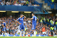 Radamel Falcao of Chelsea and Diego Costa of Chelsea look dejected as they put the ball back on the spot after Joel Ward of Crystal Palace scores his sides 2nd goal to make it 1-2. Barclays Premier League, Chelsea v Crystal Palace at Stamford Bridge in London on Saturday 29th August 2015.<br /> pic by John Patrick Fletcher, Andrew Orchard sports photography.