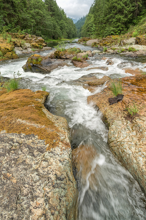 North Fork of the Middle Fork of the Willamette River flowing through narrow chutes in bedrock, Oregon.
