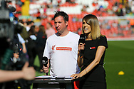 Robbie Fowler of Liverpool legends team is interviewed for LFC TV. Liverpool Legends  v Real Madrid Legends, Charity match for the LFC Foundation at the Anfield stadium in Liverpool, Merseyside on Saturday 25th March 2017.<br /> pic by Chris Stading, Andrew Orchard sports photography.