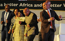 PRETORIA, May 24, 2015  South African President Jacob Zuma (3rd R) dances with other officials on the Africa Day Celebration in Mamelodi, Pretoria, South Africa, on May 24, 2015. South African President Jacob Zuma on Sunday marked Africa Day, pledging to continue working in unity and to make Africa a continent of hope for the youth and future generations. (Xinhua/DOC/Kopano Tlape) (Credit Image: © Xinhua via ZUMA Wire)