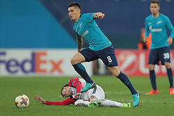 November 23, 2017 - Russia - midfielder Boban Nikolov of FC Vardar and midfielder Matias Kranevitter of FC Zenit during UEFA Europa League Football match Zenit - Vardar. Saint Petersburg, November 23,2017 (Credit Image: © Anatoliy Medved/Pacific Press via ZUMA Wire)