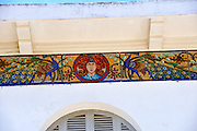 Section of art-nouveau mosaic frieze on wall of Bach Dinh Palace, (the White House). Built by the French from 1898 to 1916, Bach Din has over the years also been known as Villa Blanche; Villa Dugouverneur, and Dinh Ong Thuong. Vung Tau, Vietnam