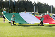 Italy flag bearers during the UEFA European Under 17 Championship 2018 match between Israel and Italy at St George's Park National Football Centre, Burton-Upon-Trent, United Kingdom on 10 May 2018. Picture by Mick Haynes.