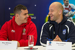 © Licensed to London News Pictures . 26/10/2012 . Salford , UK . Rhys Williams of Wales and Paul Jackson of Scotland share a joke . Press conference marking a one year countdown to the start of the 2013 Rugby League World Cup , which is being hosted by England and Wales . Photo credit : Joel Goodman/LNP