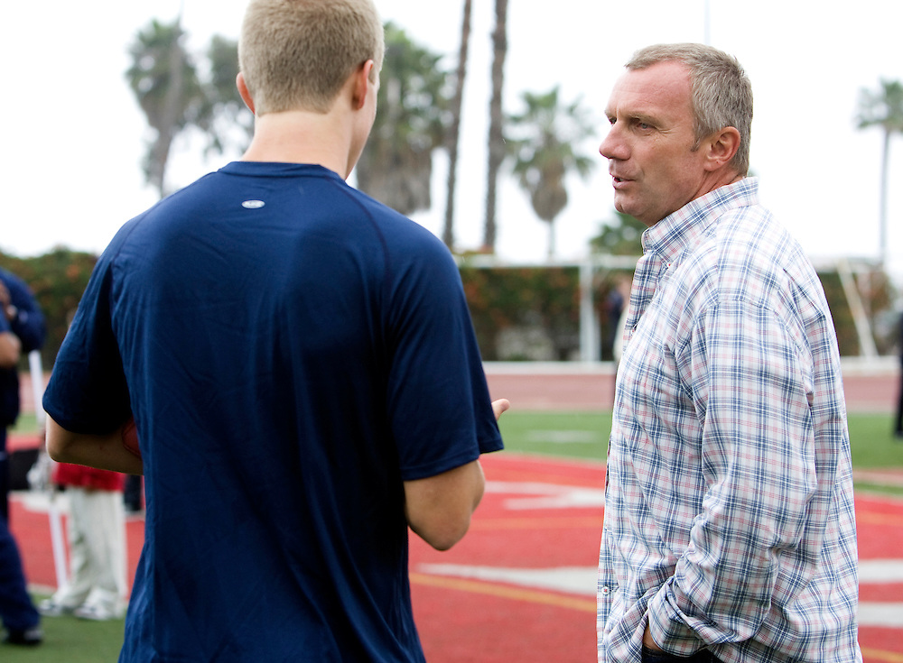 Nate Montana, son of Hall of Fame quarterback Joe Montana, works out at Steve Clarkson's quarterback camp.