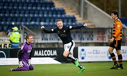 Falkirk's John Baird cele scoring their first goal. <br /> Falkirk 5 v 0 Alloa Athletic, Scottish Championship game played at The Falkirk Stadium. © Ross Schofield