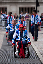 © Licensed to London News Pictures. 10/09/2012. LONDON, UK. British Olympic and Paralymic athletes arrive for a reception in their honour at the Queen Elizabeth II Conference Centre in London today (10/09/12). Photo credit: Matt Cetti-Roberts/LNP