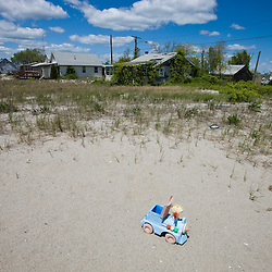 A scene from the abandoned Pleasure Beach neighborhood on Long Beach in Stratford, Connecticut. The 40-plus homes in the neighborhood were cut off from Bridgeport, CT in 1996 when the connecting bridge burned and was not replaced.  The homes were subsequently condemned and are planned to be demolished soon.