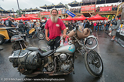 Panhead Billy at a very wet Easyriders Magazine Bike Show at the Easyriders Saloon during the annual Sturgis Black Hills Motorcycle Rally. SD, USA. August 5, 2014.  Photography ©2014 Michael Lichter.