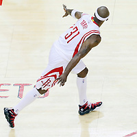 25 May 2015: Houston Rockets guard Jason Terry (31) celebrates during the Houston Rockets 128-115 victory over the Golden State Warriors, in game 4 of the Western Conference finals, at the Toyota Center, Houston, Texas, USA.