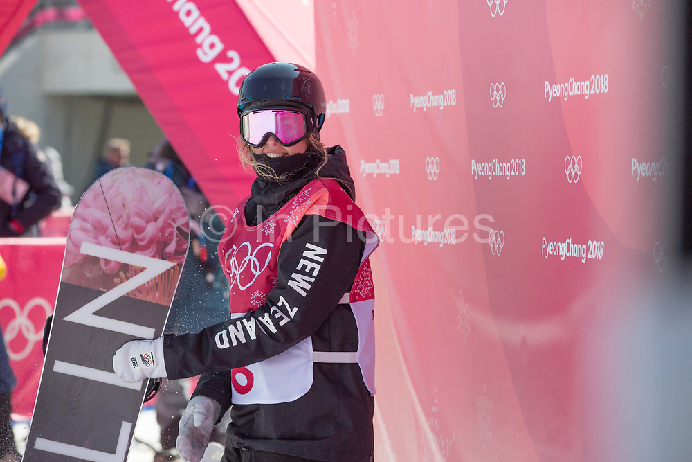 Zoi Sadowski Synnott, New Zealand, during the womens snowboard big air final at the Pyeongchang 2018 Winter Olympics on 22nd February 2018, at the Alpensia Ski Jumping Centre in Pyeongchang-gun, South Korea