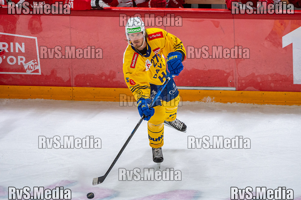 LAUSANNE, SWITZERLAND - SEPTEMBER 24: Magnus Nygren #27 of HC Davos in action during the Swiss National League game between Lausanne HC and HC Davos at Vaudoise Arena on September 24, 2021 in Lausanne, Switzerland. (Photo by Robert Hradil/RvS.Media)