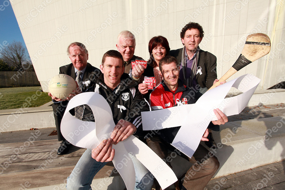 Gabriel Keating, Christy Curtin-Mayor of Clare, Martha Barrett-HR Manager Clare Haven and Johnny Flynn with Doonbeg's Conor Whelan and Crusheen's Cathal Dillon at the launch of the White Ribbon Campaigne on Monday.<br /> Photograph by Yvonne Vaughan