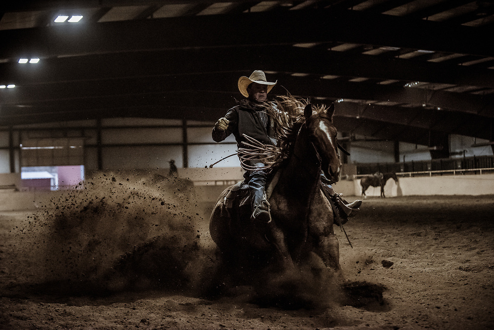Cowboy practices putting on the brakes.
