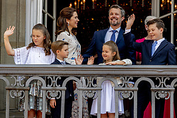 Crown Prince Frederik, Crown Princess Mary, Queen Margrethe, Prince Christian, Princess Isabella, Prince Vincent and Princess Josephine celebrate 50th birthday of Crown Prince Frederik at the royal palace in Copenhagen, Denmark, on May 26, 2018. Photo by Robin Utrecht/ABACAPRESS.COM