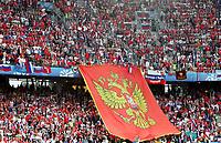 GEPA-1406086841 - SALZBURG,AUSTRIA,14.JUN.08 - FUSSBALL - UEFA Europameisterschaft, EURO 2008, Griechenland vs Russland, GRE vs RUS. Bild zeigt Fans von Russland. Keywords: Fahne, Flagge.<br />Foto: GEPA pictures/ Felix Roittner