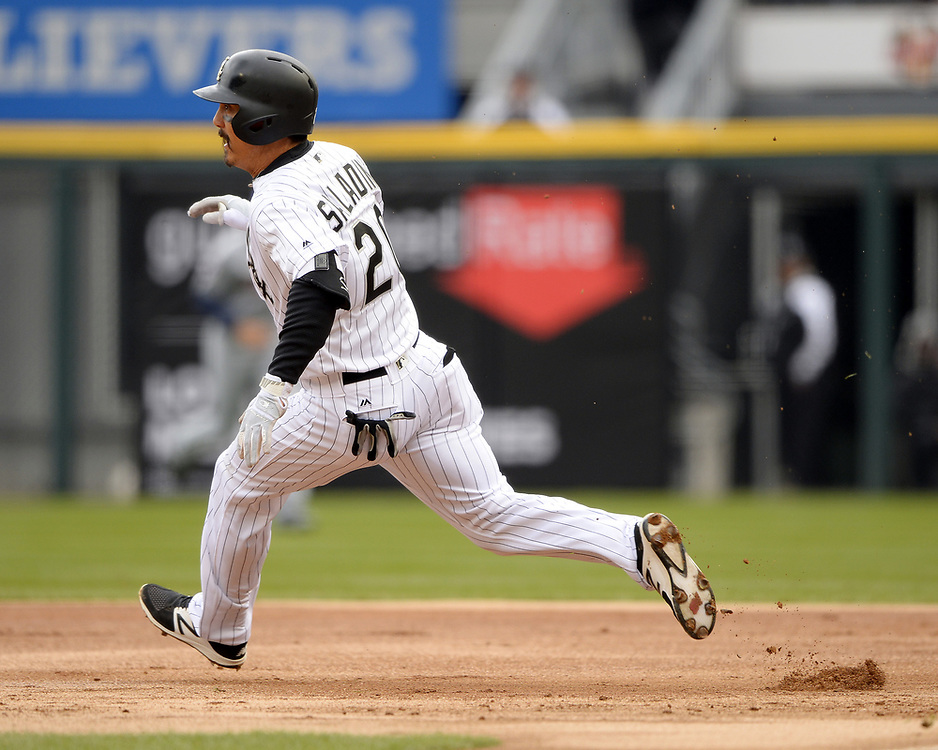 CHICAGO - APRIL 04:  Tyler Saladino #20 of the Chicago White Sox runs the bases against the Detroit Tigers on April 04, 2017 at Guaranteed Rate Field in Chicago, Illinois.  The Tigers defeated the White Sox 6-3.  (Photo by Ron Vesely)   Subject:  Tyler Saladino