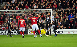 Nottingham Forest's Lewis McGugan  goes close with a free kick but it is saved well by Bristol City Goalkeeper, David James - Photo mandatory by-line: Matt Bunn/JMP - 25/01/2011 - SPORT - FOOTBALL - npower championship-Nottingham Forest v Bristol city-City Ground-Nottingham