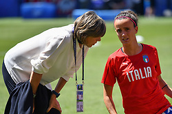 June 30, 2019 - Valenciennes, France - Milena Bertolini (ITA) speaking to Barbara Bonansea (ITA) during the quarter-final between in ITALY and NETHERLANDS the 2019 women's football World cup at Stade du Hainaut, on the 29 June 2019. (Credit Image: © Julien Mattia/NurPhoto via ZUMA Press)