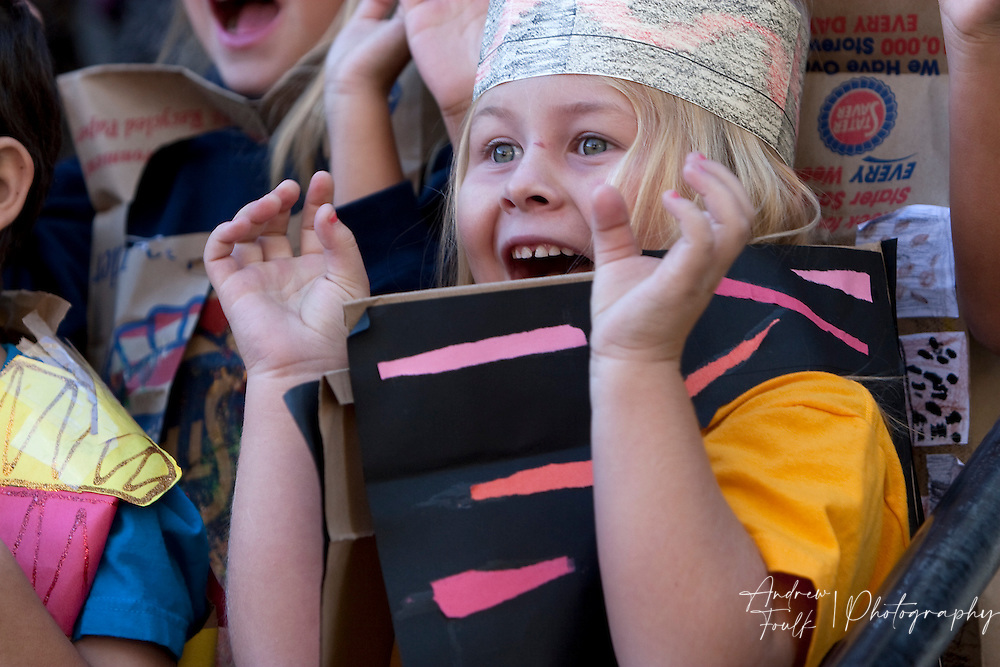 """/Andrew Foulk/ For The Californian/ .Candice Oestreich, a first graders at Avaxat Elementary screams and claws during the schools """"Wild Rumpus"""" where students dressed up as characters from the book """"Where the Wild Things Are""""."""