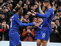 Football - 2018 / 2019 Europa League - Group L: Chelsea vs. PAOK Salonika<br /> <br /> Callum Hudson - Odoi of Chelsea celebrates scoring goal no 3 with Ruben Loftus - Cheek, at Stamford Bridge.<br /> <br /> COLORSPORT/ANDREW COWIE