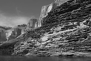 Sandstone & limestone layers (moenkopi, tapeats, kaibab) along the Colorado River, Grand Canyon National Park, Arizona, US