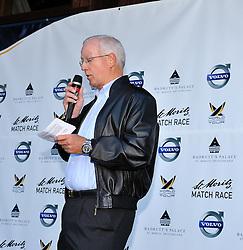 Jurgen Zinger, President Segelclub St.Moritz at the opening ceremony for the St.Moritz Match  Race. Photo:Chris Davies/WMRT